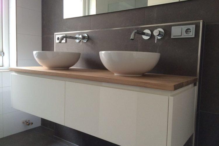 Badkamermeubel Met Waskom : Badkamermeubel met eiken blad p j van der vegt